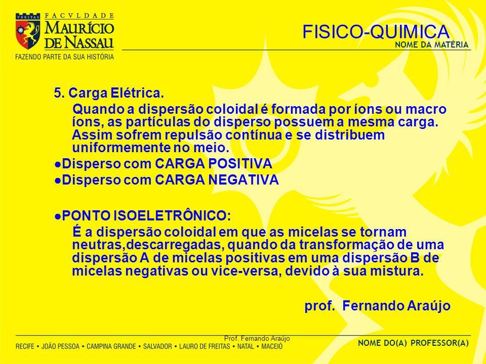 NOME DA MATÉRIA NOME DO(A) PROFESSOR(A) Prof. Fernando Araújo FISICO-QUIMICA 5. Carga Elétrica. Quando a dispersão coloidal é formada por íons ou macr