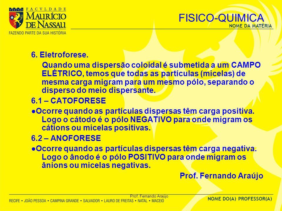 NOME DA MATÉRIA NOME DO(A) PROFESSOR(A) Prof. Fernando Araújo FISICO-QUIMICA 6. Eletroforese. Quando uma dispersão coloidal é submetida a um CAMPO ELÉ