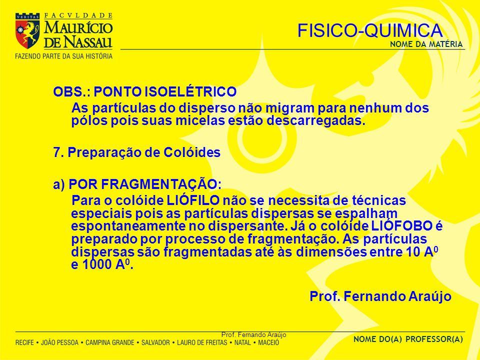 NOME DA MATÉRIA NOME DO(A) PROFESSOR(A) Prof. Fernando Araújo FISICO-QUIMICA OBS.: PONTO ISOELÉTRICO As partículas do disperso não migram para nenhum