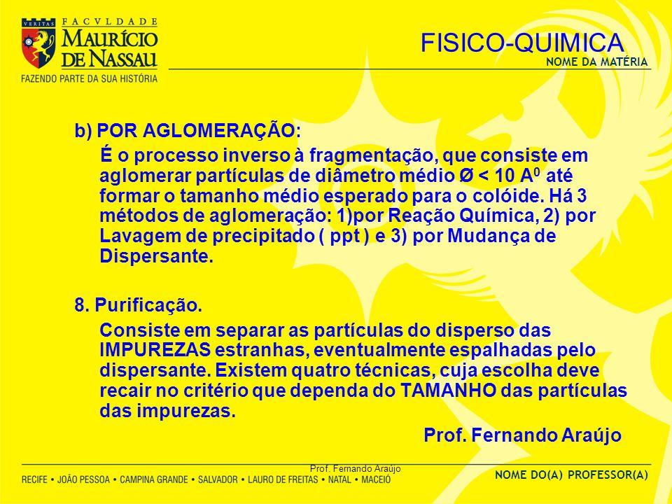 NOME DA MATÉRIA NOME DO(A) PROFESSOR(A) Prof. Fernando Araújo FISICO-QUIMICA b) POR AGLOMERAÇÃO: É o processo inverso à fragmentação, que consiste em