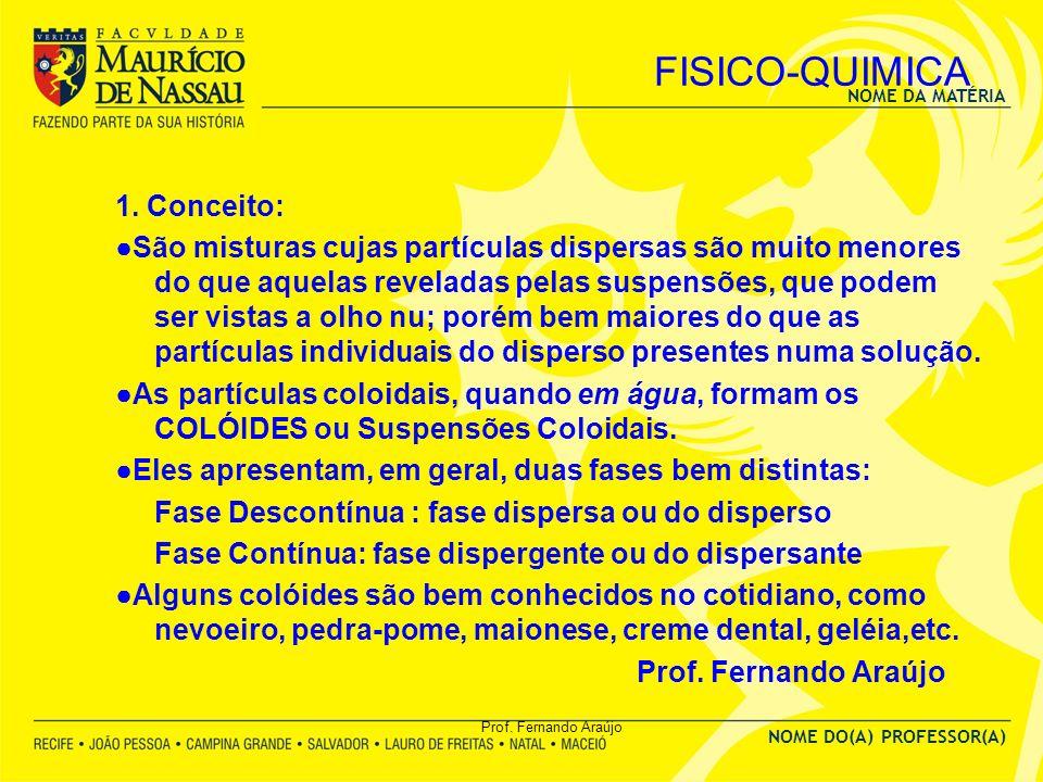 NOME DA MATÉRIA NOME DO(A) PROFESSOR(A) Prof. Fernando Araújo FISICO-QUIMICA 1. Conceito: São misturas cujas partículas dispersas são muito menores do