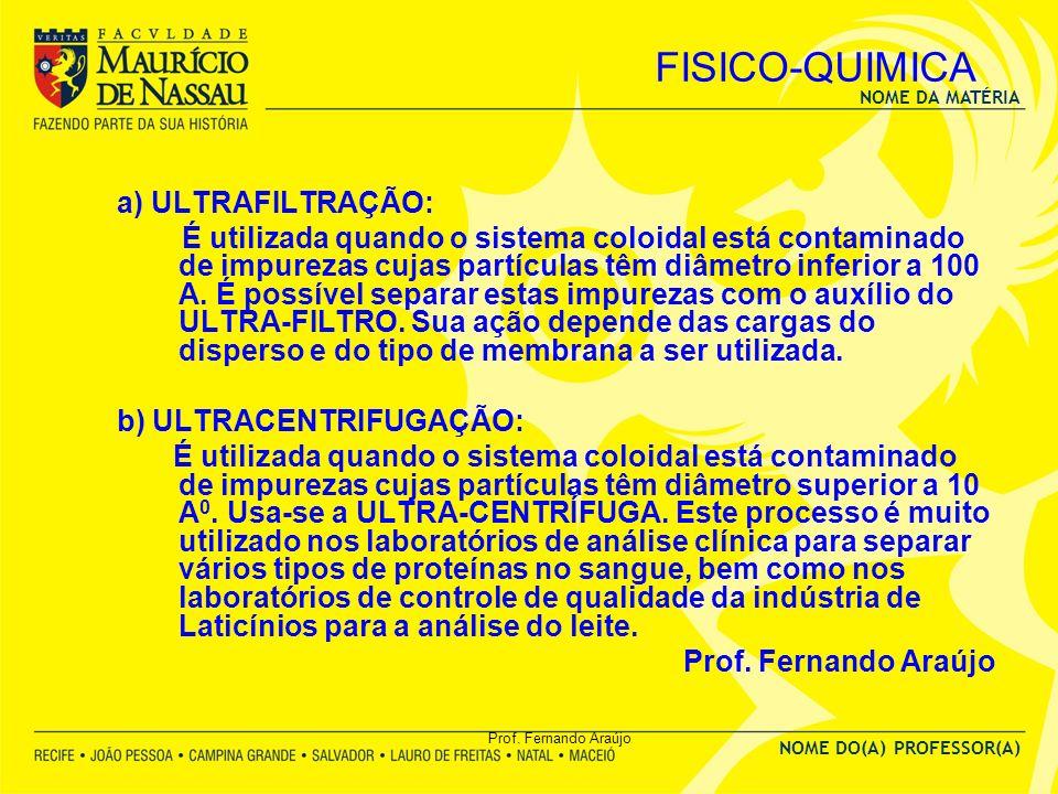 NOME DA MATÉRIA NOME DO(A) PROFESSOR(A) Prof. Fernando Araújo FISICO-QUIMICA a) ULTRAFILTRAÇÃO: É utilizada quando o sistema coloidal está contaminado