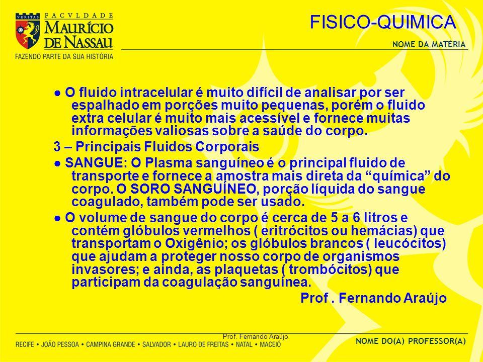 NOME DA MATÉRIA NOME DO(A) PROFESSOR(A) Prof. Fernando Araújo FISICO-QUIMICA O fluido intracelular é muito difícil de analisar por ser espalhado em po