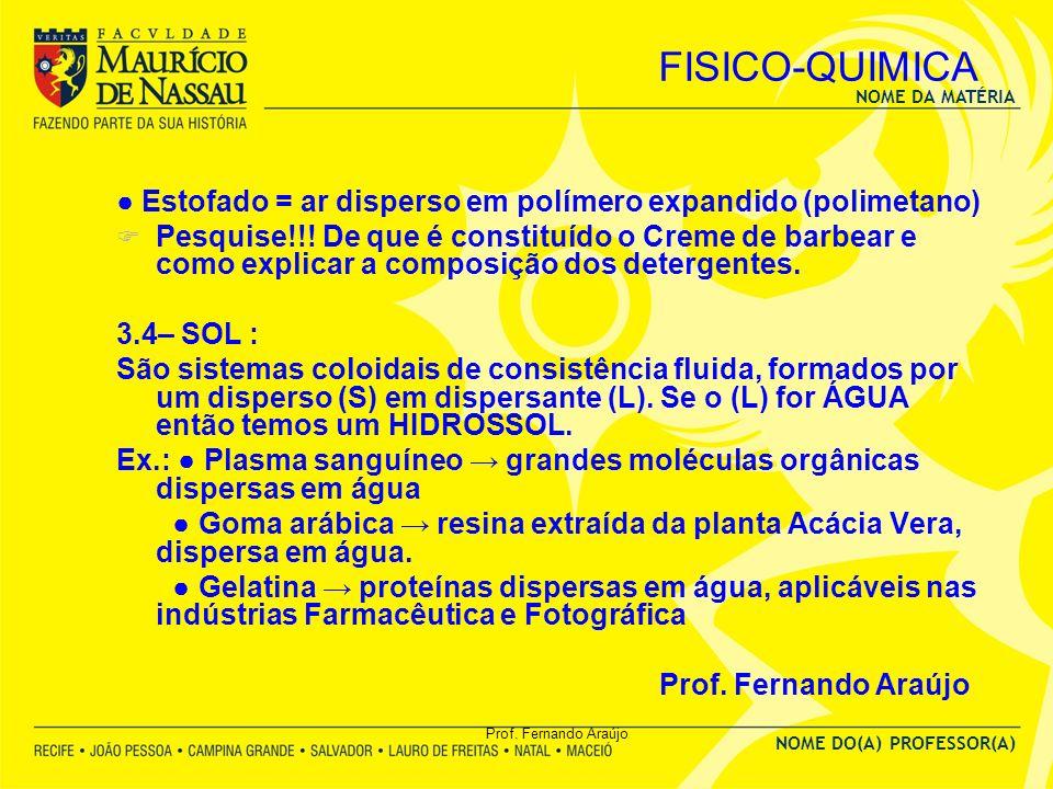 NOME DA MATÉRIA NOME DO(A) PROFESSOR(A) Prof. Fernando Araújo FISICO-QUIMICA Estofado = ar disperso em polímero expandido (polimetano) Pesquise!!! De