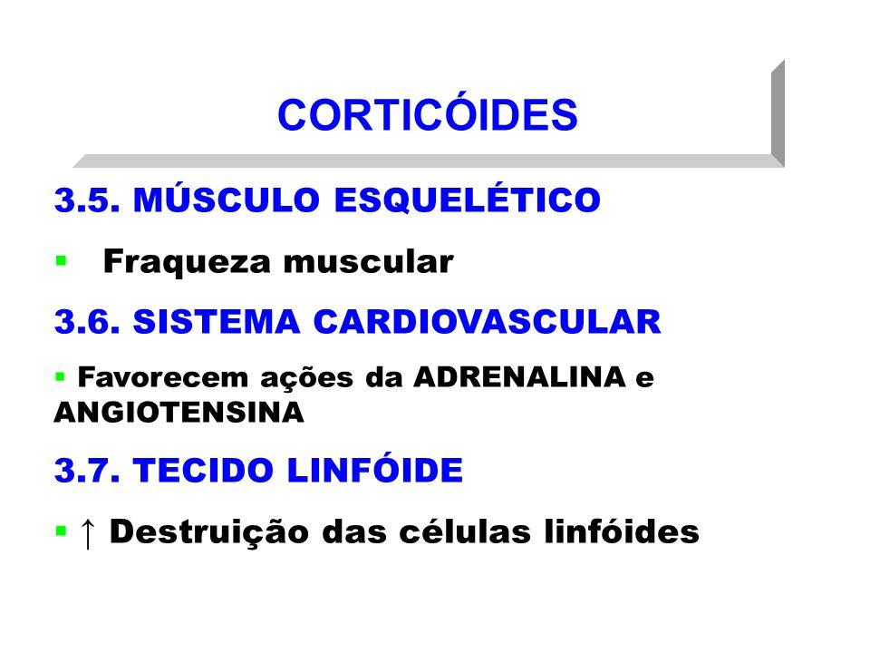 CORTICÓIDES 3.5. MÚSCULO ESQUELÉTICO Fraqueza muscular 3.6. SISTEMA CARDIOVASCULAR Favorecem ações da ADRENALINA e ANGIOTENSINA 3.7. TECIDO LINFÓIDE D