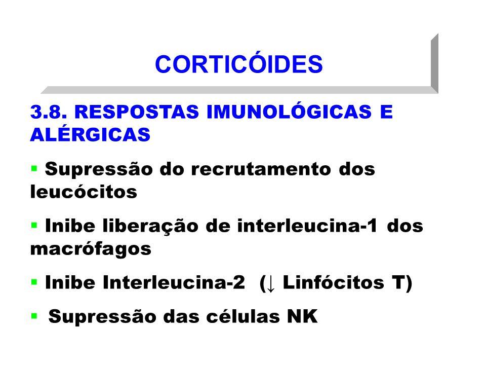 CORTICÓIDES 3.8. RESPOSTAS IMUNOLÓGICAS E ALÉRGICAS Supressão do recrutamento dos leucócitos Inibe liberação de interleucina-1 dos macrófagos Inibe In