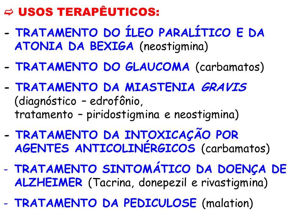 USOS TERAPÊUTICOS: - TRATAMENTO DO ÍLEO PARALÍTICO E DA ATONIA DA BEXIGA (neostigmina) - TRATAMENTO DO GLAUCOMA (carbamatos) - TRATAMENTO DA MIASTENIA