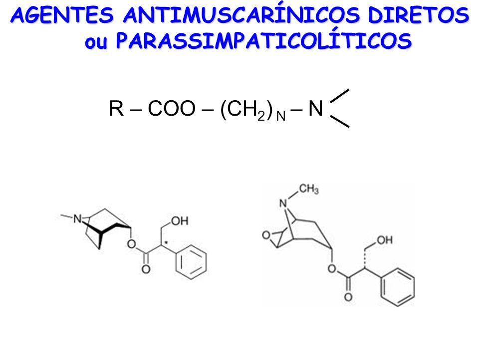 AGENTES ANTIMUSCARÍNICOS DIRETOS ou PARASSIMPATICOLÍTICOS R – COO – (CH 2 ) N – N