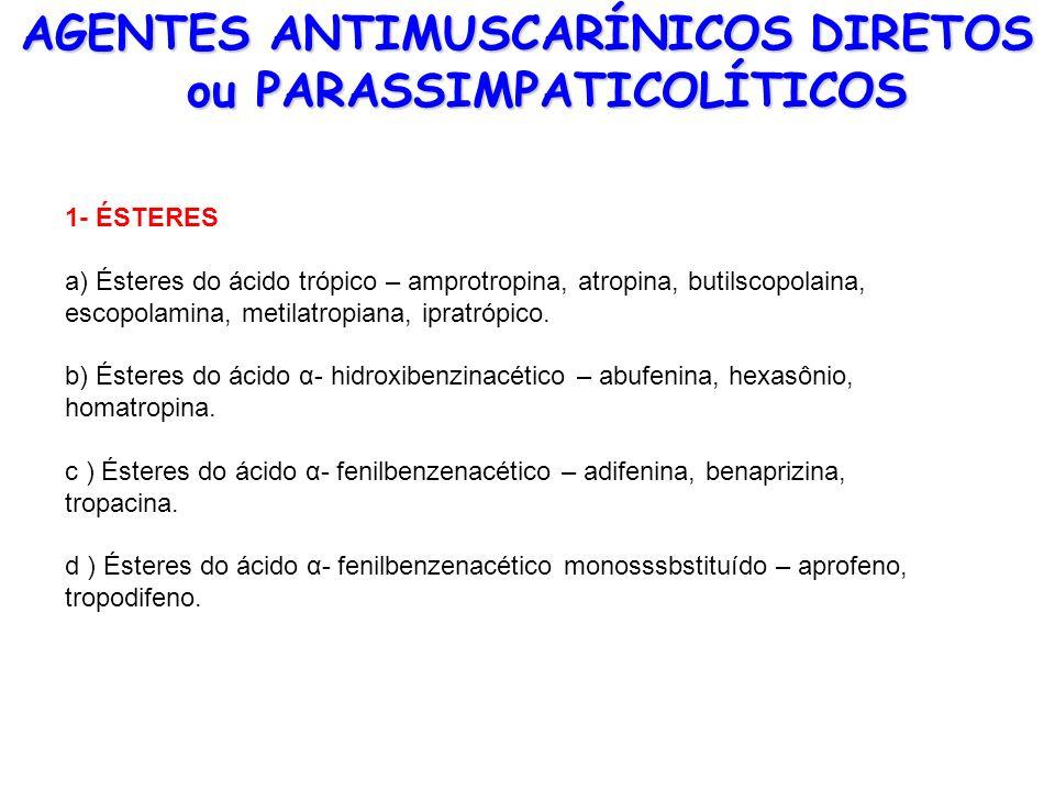AGENTES ANTIMUSCARÍNICOS DIRETOS ou PARASSIMPATICOLÍTICOS 1- ÉSTERES a) Ésteres do ácido trópico – amprotropina, atropina, butilscopolaina, escopolami
