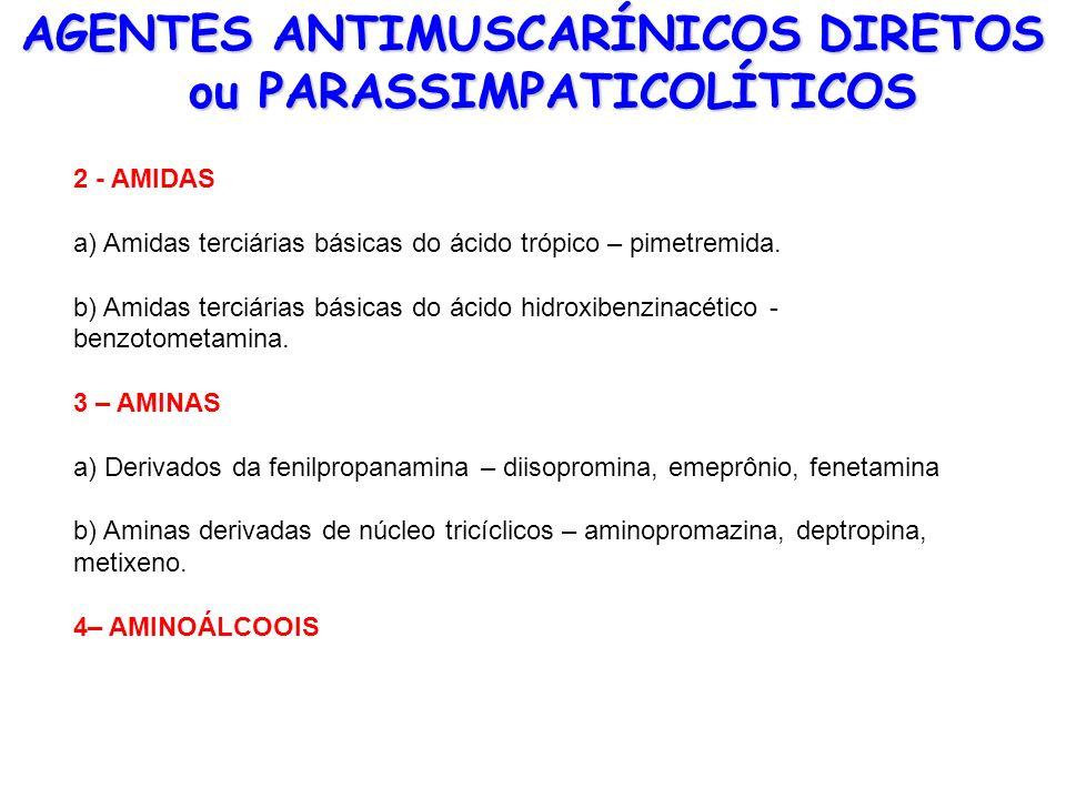 AGENTES ANTIMUSCARÍNICOS DIRETOS ou PARASSIMPATICOLÍTICOS 2 - AMIDAS a) Amidas terciárias básicas do ácido trópico – pimetremida. b) Amidas terciárias