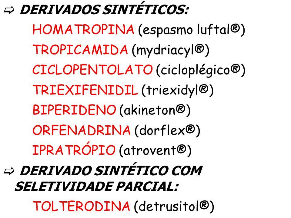 DERIVADOS SINTÉTICOS: HOMATROPINA (espasmo luftal®) TROPICAMIDA (mydriacyl®) CICLOPENTOLATO (cicloplégico®) TRIEXIFENIDIL (triexidyl®) BIPERIDENO (aki