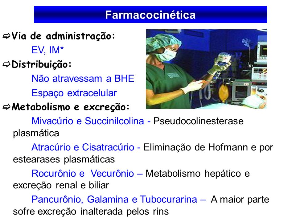 Via de administração: EV, IM* Distribuição: Não atravessam a BHE Espaço extracelular Metabolismo e excreção: Mivacúrio e Succinilcolina - Pseudocoline