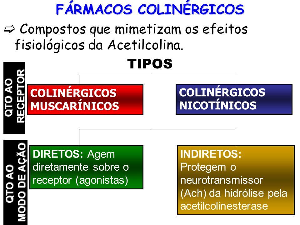 FÁRMACOS COLINÉRGICOS Compostos que mimetizam os efeitos fisiológicos da Acetilcolina. TIPOS COLINÉRGICOS MUSCARÍNICOS COLINÉRGICOS NICOTÍNICOS DIRETO