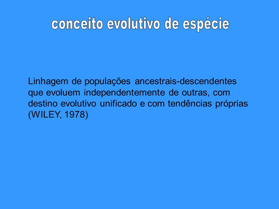 Linhagem de populações ancestrais-descendentes que evoluem independentemente de outras, com destino evolutivo unificado e com tendências próprias (WIL