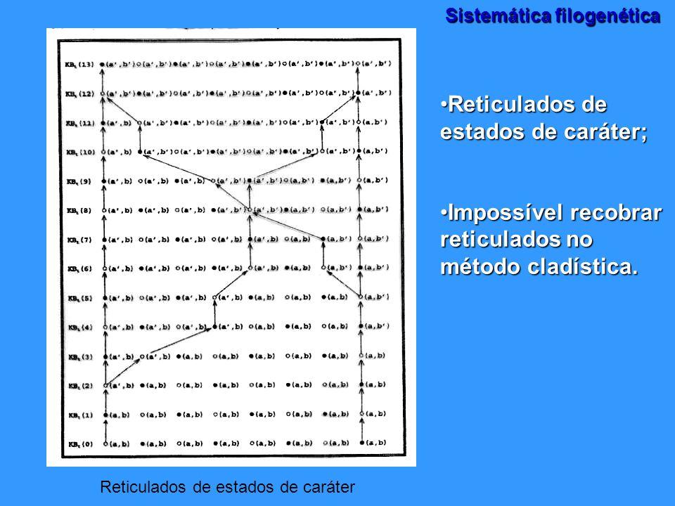 Sistemática filogenética Reticulados de estados de caráter Reticulados de estados de caráter;Reticulados de estados de caráter; Impossível recobrar re
