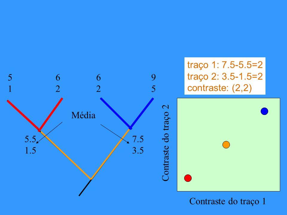 Contraste do traço 1 Contraste do traço 2 5151 6262 6262 9595 5.5 1.5 7.5 3.5 Média traço 1: 7.5-5.5=2 traço 2: 3.5-1.5=2 contraste: (2,2)