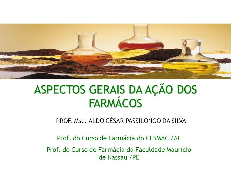 ASPECTOS GERAIS DA AÇÃO DOS FARMÁCOS Prof. do Curso de Farmácia do CESMAC /AL Prof. do Curso de Farmácia da Faculdade Maurício de Nassau /PE PROF. Msc