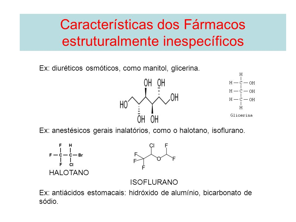 Ex: diuréticos osmóticos, como manitol, glicerina. Ex: anestésicos gerais inalatórios, como o halotano, isoflurano. Ex: antiácidos estomacais: hidróxi