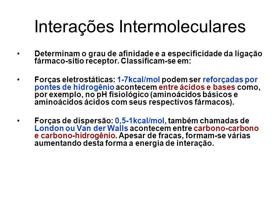 Interações Intermoleculares Determinam o grau de afinidade e a especificidade da ligação fármaco-sítio receptor. Classificam-se em: Forças eletrostáti
