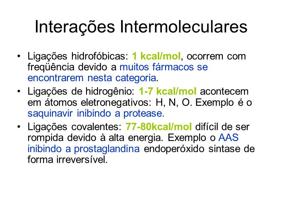 Interações Intermoleculares Ligações hidrofóbicas: 1 kcal/mol, ocorrem com freqüência devido a muitos fármacos se encontrarem nesta categoria. Ligaçõe