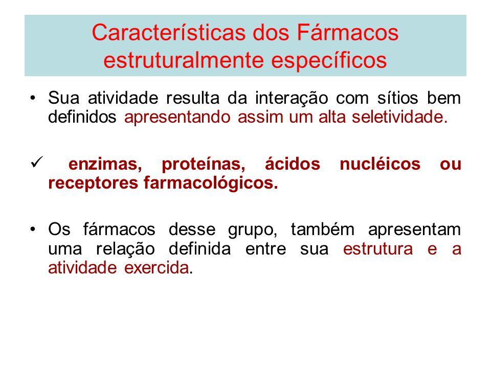 Características dos Fármacos estruturalmente específicos Sua atividade resulta da interação com sítios bem definidos apresentando assim um alta seleti