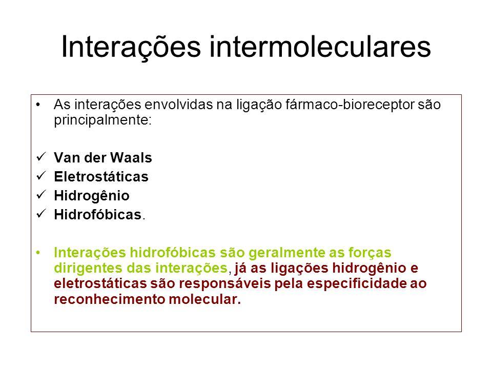 Interações intermoleculares As interações envolvidas na ligação fármaco-bioreceptor são principalmente: Van der Waals Eletrostáticas Hidrogênio Hidrof