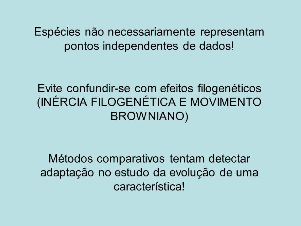 Espécies não necessariamente representam pontos independentes de dados! Evite confundir-se com efeitos filogenéticos (INÉRCIA FILOGENÉTICA E MOVIMENTO