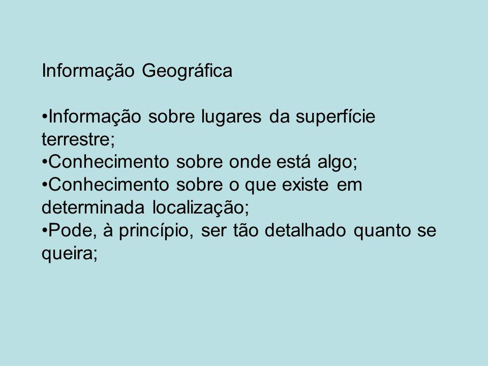 Informação Geográfica Informação sobre lugares da superfície terrestre; Conhecimento sobre onde está algo; Conhecimento sobre o que existe em determinada localização; Pode, à princípio, ser tão detalhado quanto se queira;
