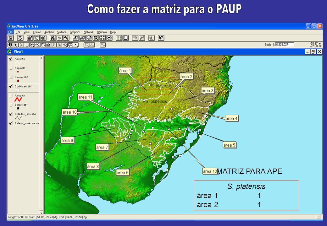 S. platensis área 11 área 21 MATRIZ PARA APE