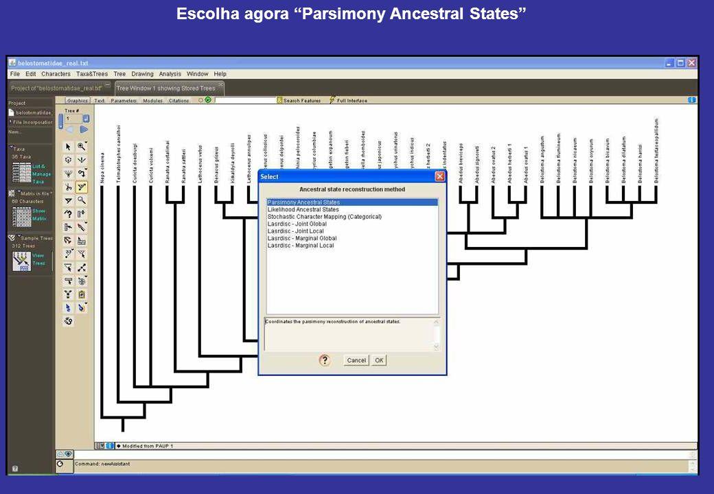Escolha agora Parsimony Ancestral States