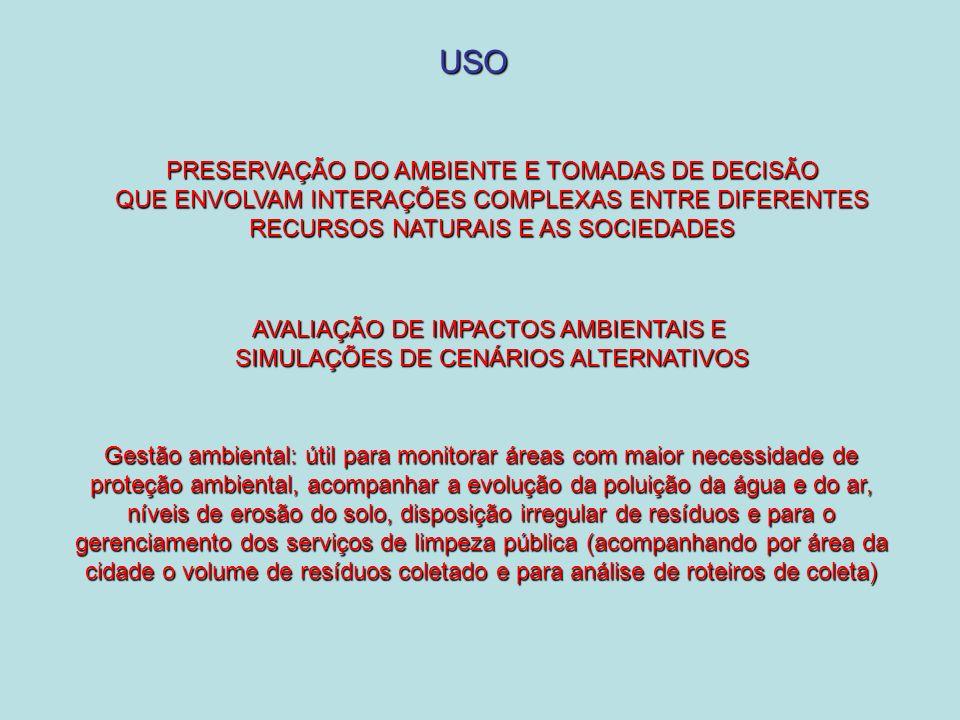 USO PRESERVAÇÃO DO AMBIENTE E TOMADAS DE DECISÃO QUE ENVOLVAM INTERAÇÕES COMPLEXAS ENTRE DIFERENTES RECURSOS NATURAIS E AS SOCIEDADES AVALIAÇÃO DE IMPACTOS AMBIENTAIS E SIMULAÇÕES DE CENÁRIOS ALTERNATIVOS Gestão ambiental: útil para monitorar áreas com maior necessidade de proteção ambiental, acompanhar a evolução da poluição da água e do ar, níveis de erosão do solo, disposição irregular de resíduos e para o gerenciamento dos serviços de limpeza pública (acompanhando por área da cidade o volume de resíduos coletado e para análise de roteiros de coleta)