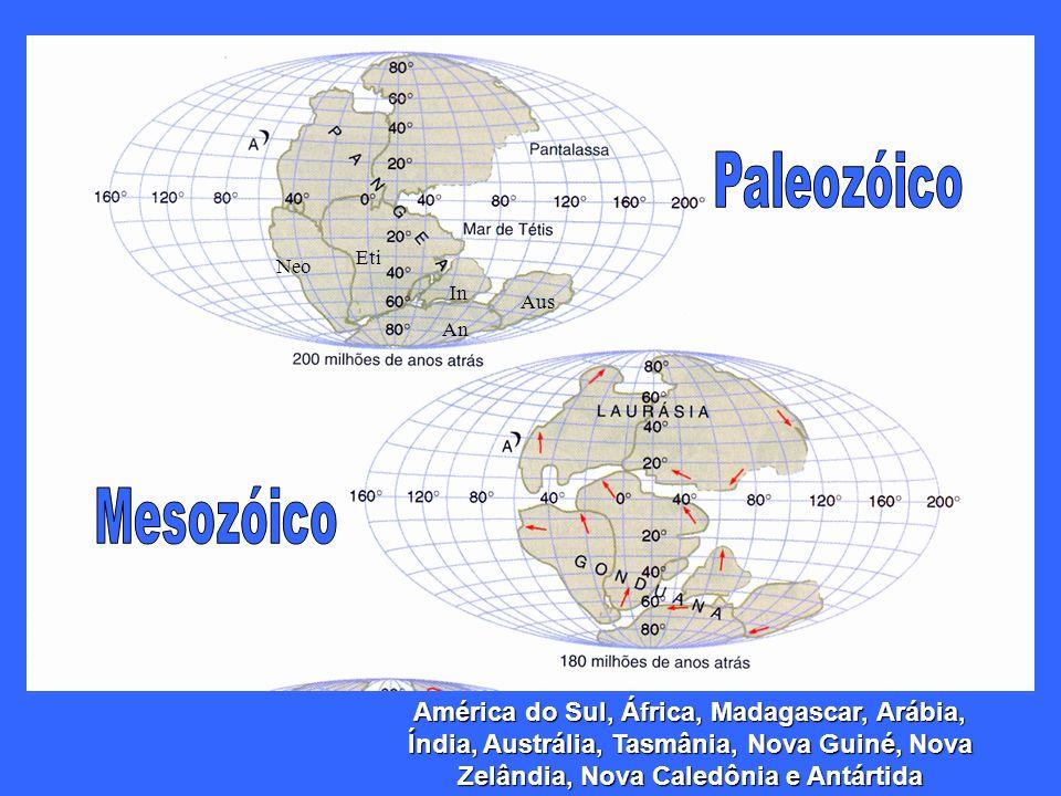 An Aus In Eti Neo América do Sul, África, Madagascar, Arábia, Índia, Austrália, Tasmânia, Nova Guiné, Nova Zelândia, Nova Caledônia e Antártida