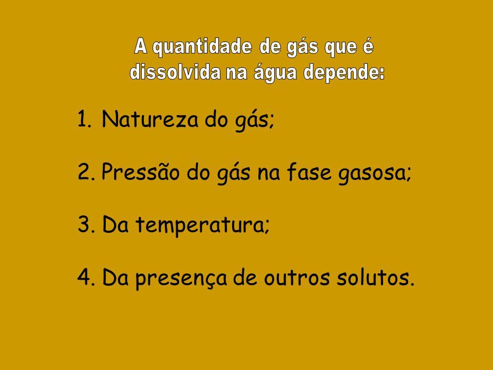 1.Natureza do gás; 2.Pressão do gás na fase gasosa; 3.Da temperatura; 4.Da presença de outros solutos.