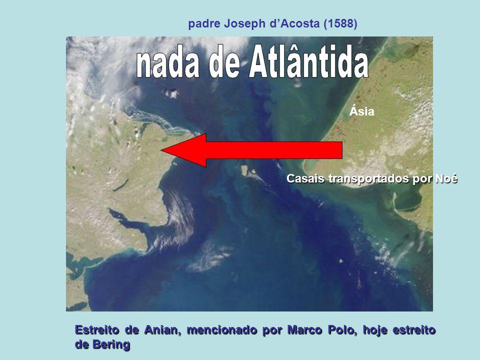 Estreito de Anian, mencionado por Marco Polo, hoje estreito de Bering padre Joseph dAcosta (1588) Ásia Casais transportados por Noé