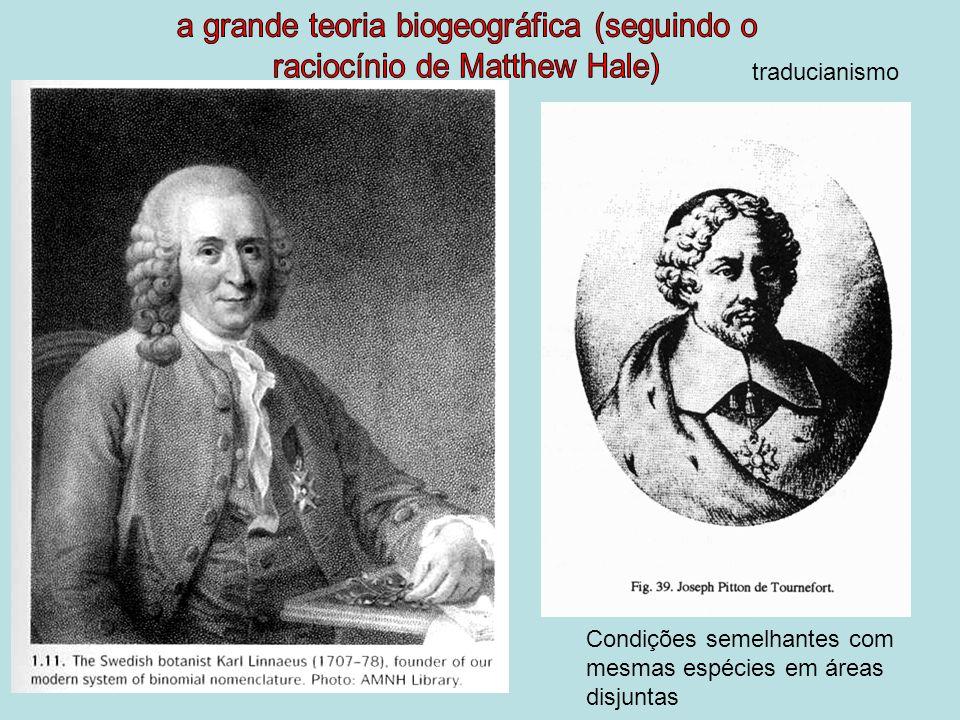 Condições semelhantes com mesmas espécies em áreas disjuntas traducianismo