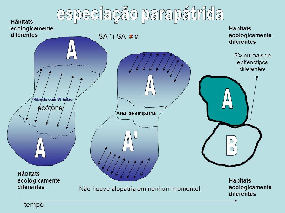Hábitats ecologicamente diferentes Híbrido com W baixo tempo Hábitats ecologicamente diferentes ecótone Área de simpatria 5% ou mais de epifenótipos d