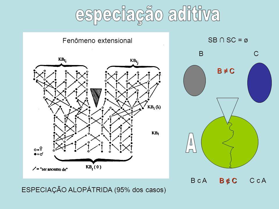 Fenômeno extensional ESPECIAÇÃO ALOPÁTRIDA (95% dos casos) BC SB SC = ø B c AC c A B C B ¢ C