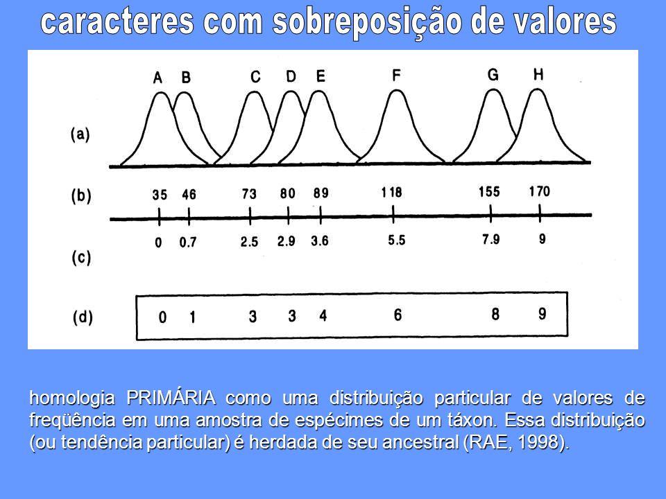 homologia PRIMÁRIA como uma distribuição particular de valores de freqüência em uma amostra de espécimes de um táxon. Essa distribuição (ou tendência