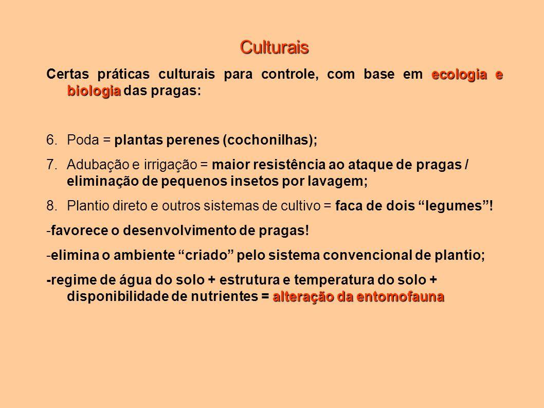 Culturais ecologia e biologia Certas práticas culturais para controle, com base em ecologia e biologia das pragas: 6.Poda = plantas perenes (cochonilh