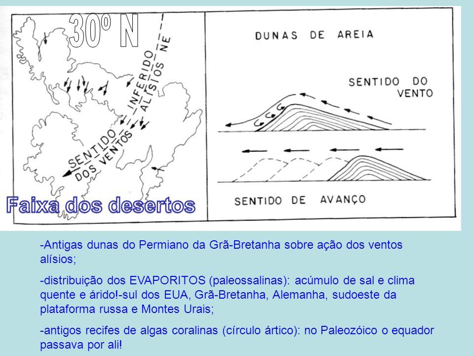 -Antigas dunas do Permiano da Grã-Bretanha sobre ação dos ventos alísios; -distribuição dos EVAPORITOS (paleossalinas): acúmulo de sal e clima quente