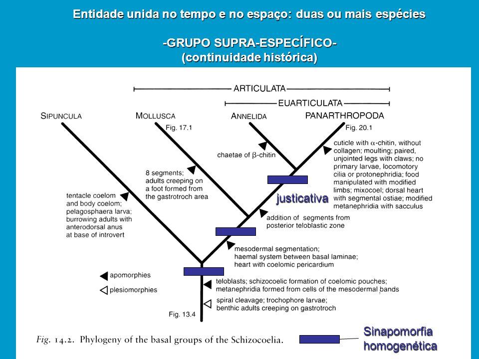 Entidade unida no tempo e no espaço: duas ou mais espécies -GRUPO SUPRA-ESPECÍFICO- (continuidade histórica) justicativa Sinapomorfiahomogenética