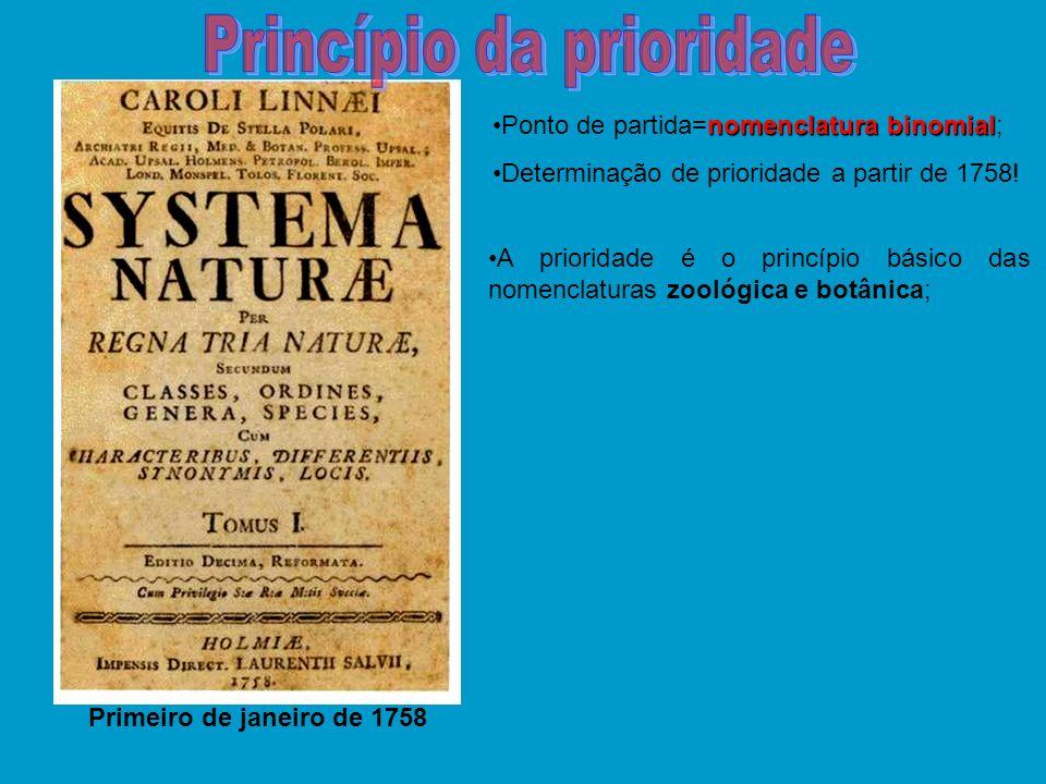 nomenclatura binomialPonto de partida=nomenclatura binomial; Determinação de prioridade a partir de 1758! Primeiro de janeiro de 1758 A prioridade é o