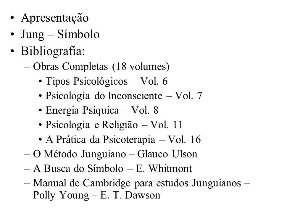 Apresentação Jung – Símbolo Bibliografia: –Obras Completas (18 volumes) Tipos Psicológicos – Vol. 6 Psicologia do Inconsciente – Vol. 7 Energia Psíqui