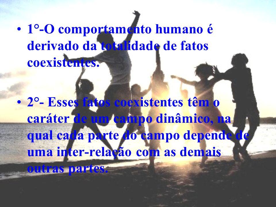 1°-O comportamento humano é derivado da totalidade de fatos coexistentes. 2°- Esses fatos coexistentes têm o caráter de um campo dinâmico, na qual cad