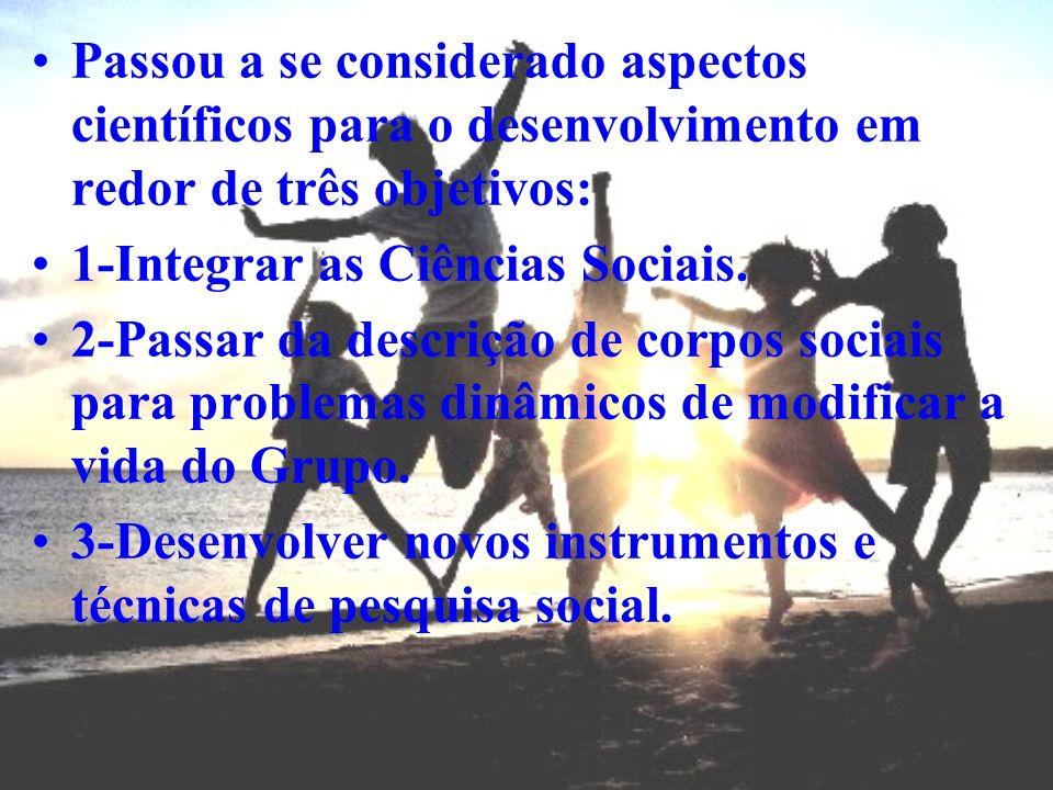 Passou a se considerado aspectos científicos para o desenvolvimento em redor de três objetivos: 1-Integrar as Ciências Sociais. 2-Passar da descrição