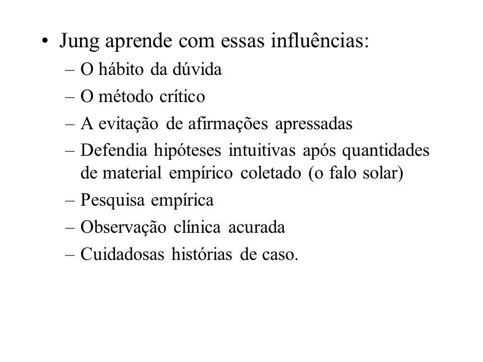 Jung aprende com essas influências: –O hábito da dúvida –O método crítico –A evitação de afirmações apressadas –Defendia hipóteses intuitivas após qua