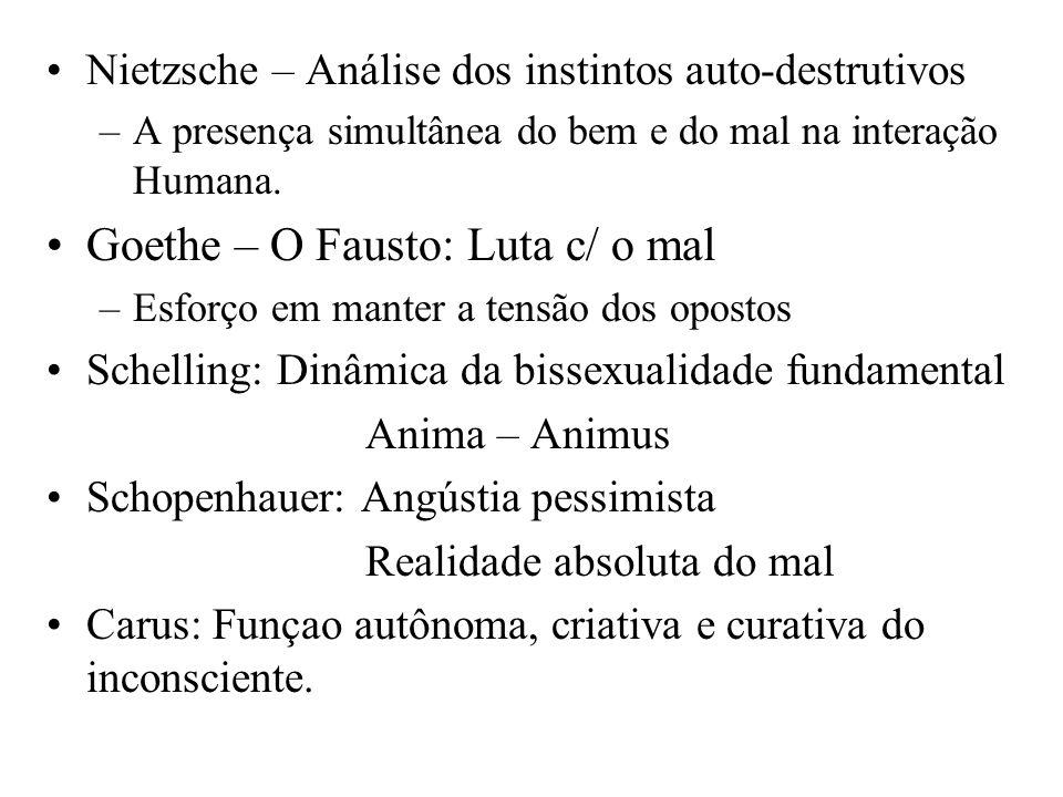 Nietzsche – Análise dos instintos auto-destrutivos –A presença simultânea do bem e do mal na interação Humana. Goethe – O Fausto: Luta c/ o mal –Esfor