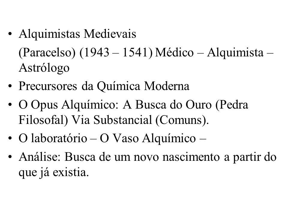 Alquimistas Medievais (Paracelso) (1943 – 1541) Médico – Alquimista – Astrólogo Precursores da Química Moderna O Opus Alquímico: A Busca do Ouro (Pedr