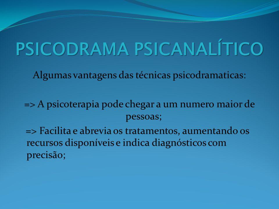 PSICODRAMA PSICANALÍTICO Algumas vantagens das técnicas psicodramaticas: => A psicoterapia pode chegar a um numero maior de pessoas; => Facilita e abr