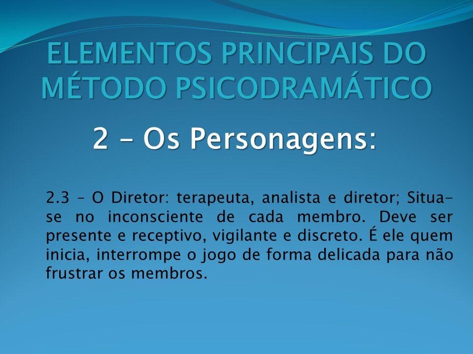 2 – Os Personagens: ELEMENTOS PRINCIPAIS DO MÉTODO PSICODRAMÁTICO 2.3 – O Diretor: terapeuta, analista e diretor; Situa- se no inconsciente de cada me